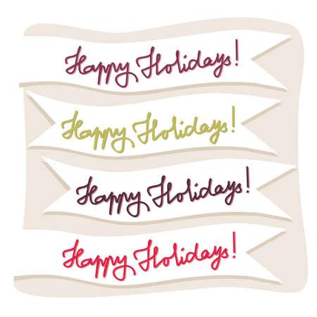 happy holidays: happy holidays op de vlaggen Stock Illustratie