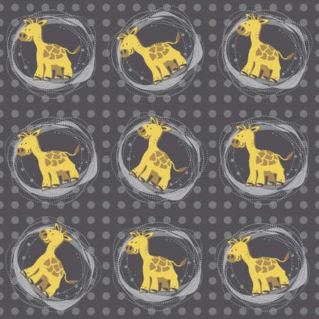 little giraffes on navy dots Stock Vector - 15332809