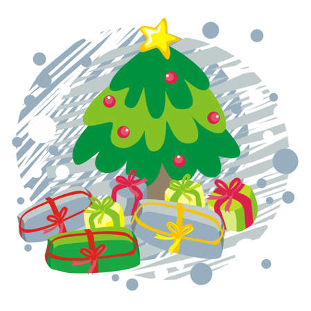 christmas tree and gifts on blue Vector