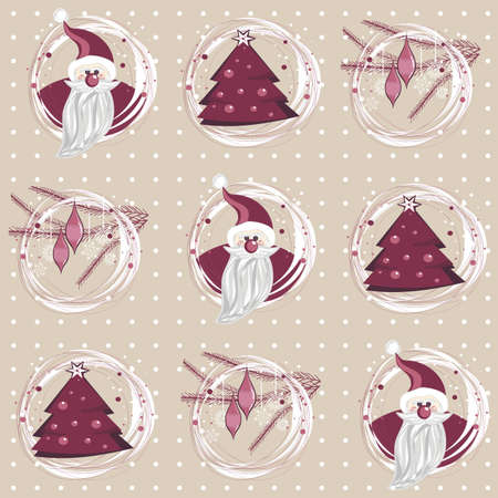 christmas pattern purple pink  Vector