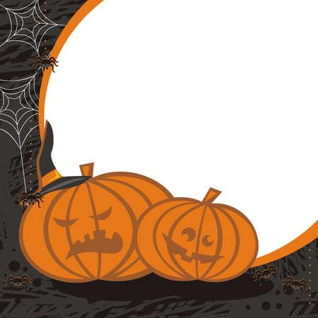 spider webs: pumpkin background with spiders and spider webs Illustration