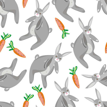 rabbits with carrots on white Vector