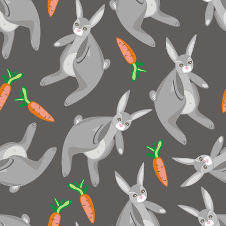 rabbits with carrots on gray Vector