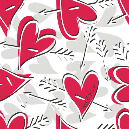 red and gray hearts with arrows Stock Vector - 15375526