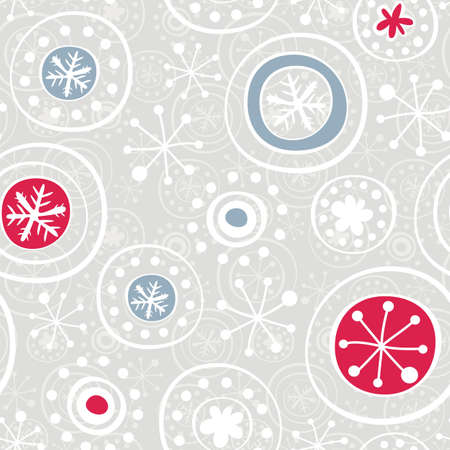 white blue red snowflakes on light gray background  Vector
