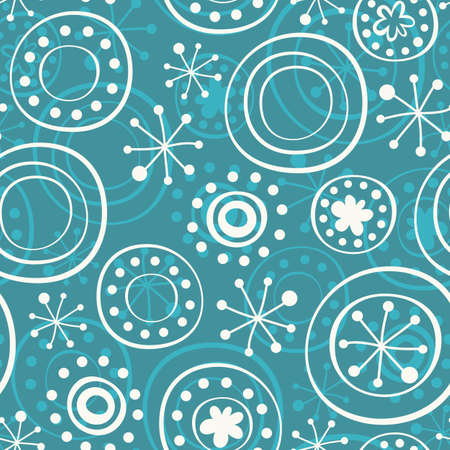 white star line: snowflakes on turquoise Illustration