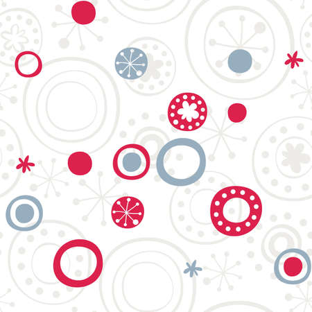 gray blue red retro snowflakes