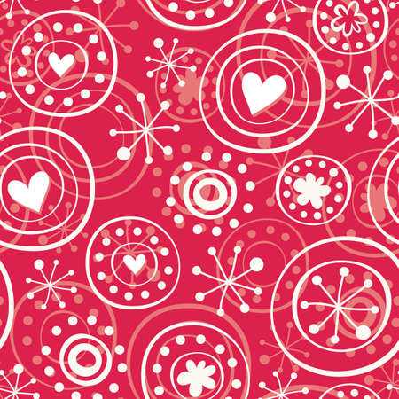 white star line: red retro snowflakes with hearts Illustration