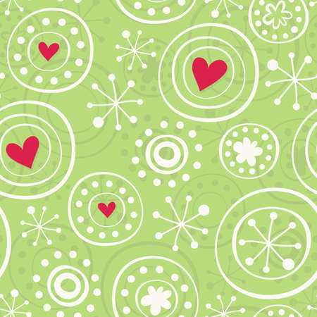 snowflakes with hearts on green Vector