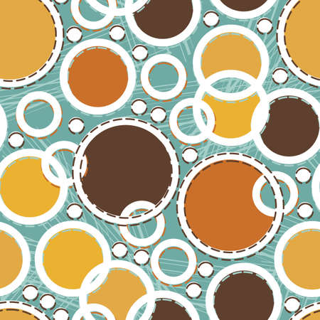 colorful retro circles on turquoise Vector