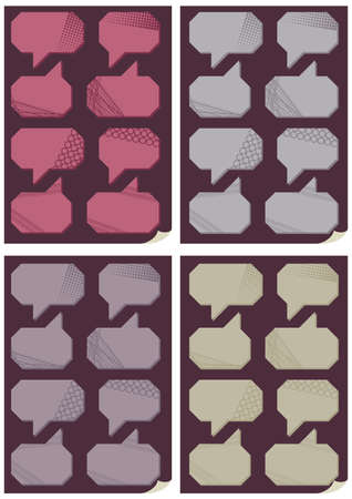 4 colors patterned bubbles set on purple Vector