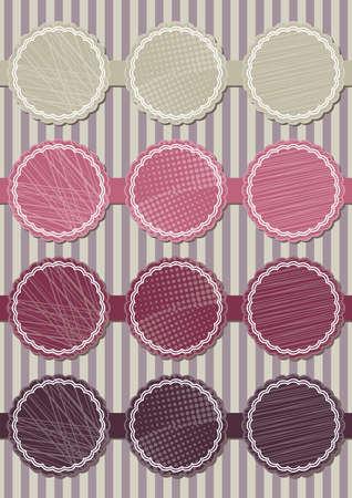 pink purple round sticker set Vector
