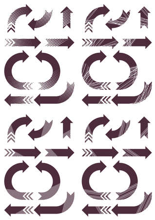 patterned purple arrows set