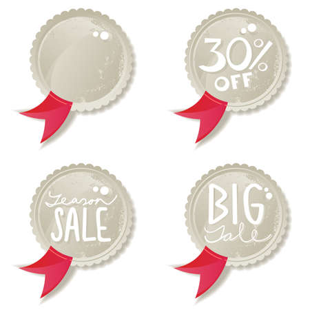 seasonal sale buttons with red ribbon  Vector