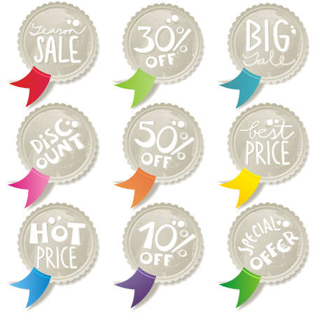 season sale buttons with colorful ribbons