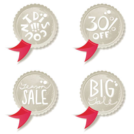shiny season sale label set with red ribbon Vector