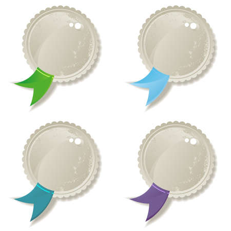 shiny label set with green blue purple turquoise ribbon Vector