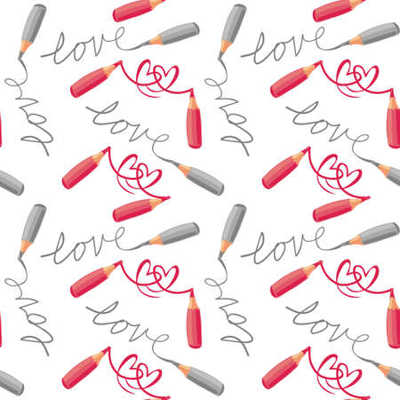 red pencil: love and hearts red gray crayons