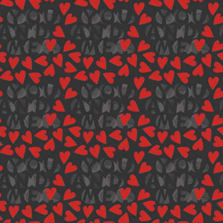 you and me with red hearts on dark Stock Vector - 15646260