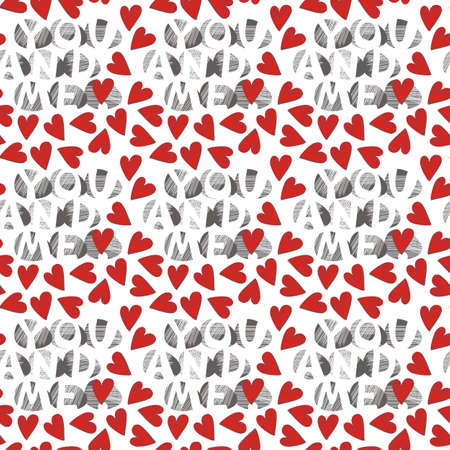 you and me with red hearts on white  Stock Vector - 15646259
