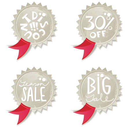 red ribbon discount offer star shaped shiny button set