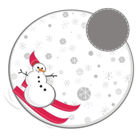 Ski bonhomme de neige rouge dans l'illustration de flocons de neige Banque d'images - 15687520