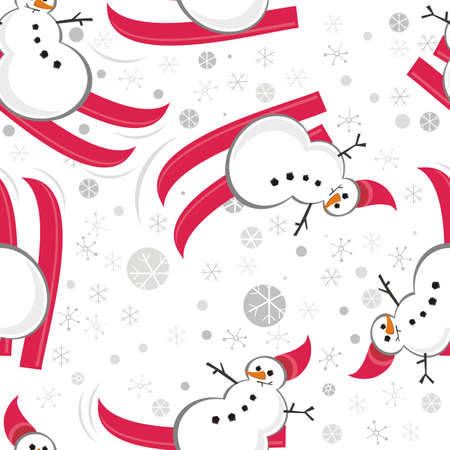 snowman red ski in snowflakes seamless pattern Vector