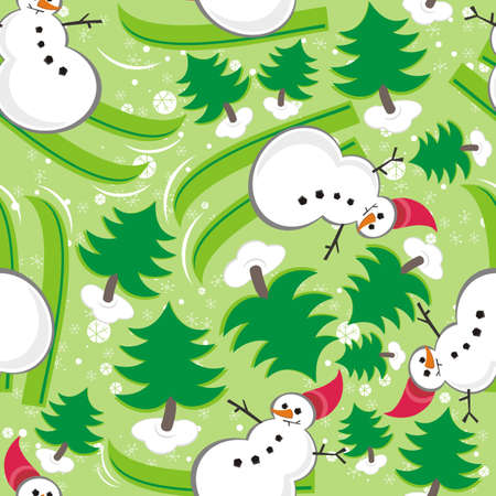 snowman ski in green forrest seamless pattern
