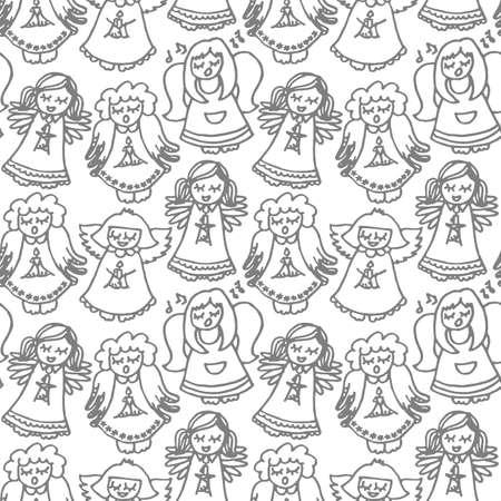 carols: singing angels on white background