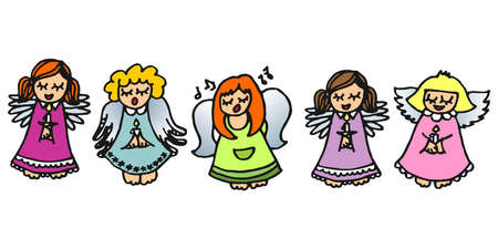 christmas carols: five colorful angels