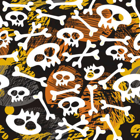 skulls and bones on messy dark halloween background  Vector