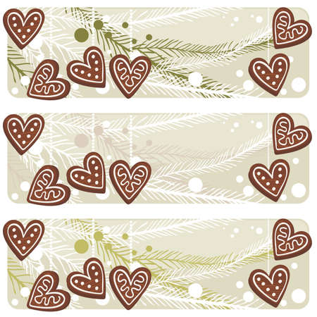 christmas heart shaped gingerbreads banner set Vector