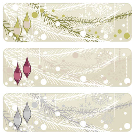 sparkling glass balls on christmas tree banner set Stock Vector - 15974342