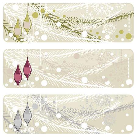 sparkling glass balls on christmas tree banner set Stock Vector - 15974342