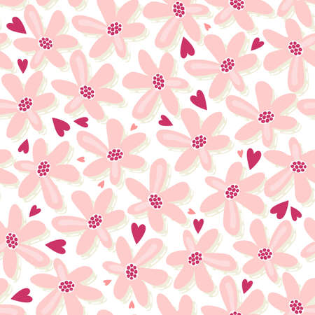 pink flowers with hearts seamless pattern