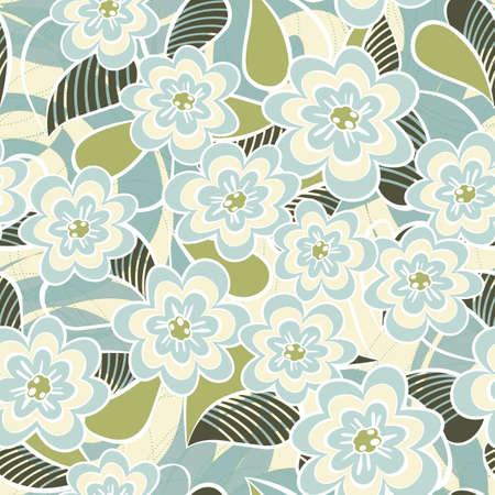 turquoise retro floral seamless pattern