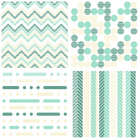 set of seamless retro geometric paper patterns in turquoise white and beige dots lines and chevron  Illustration