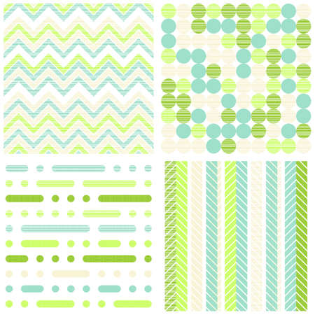 set of seamless retro geometric paper patterns in green white beige and turquoise dots lines and chevron