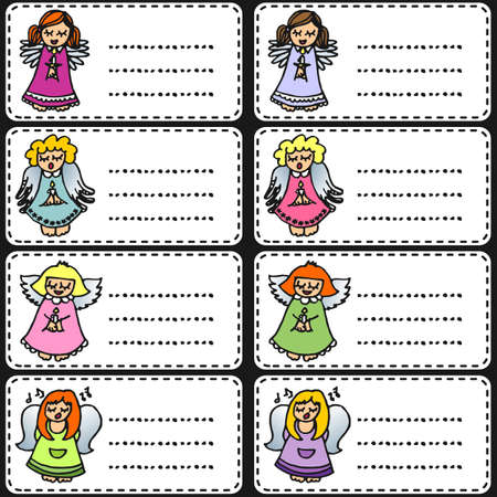 colorful singing angels on white sticker set  Vector