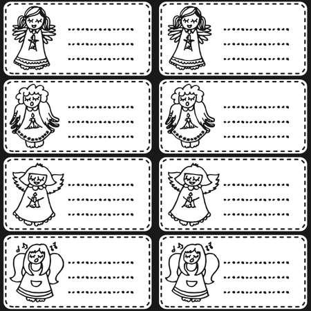 monochrome singing angels on white sticker set  Vector