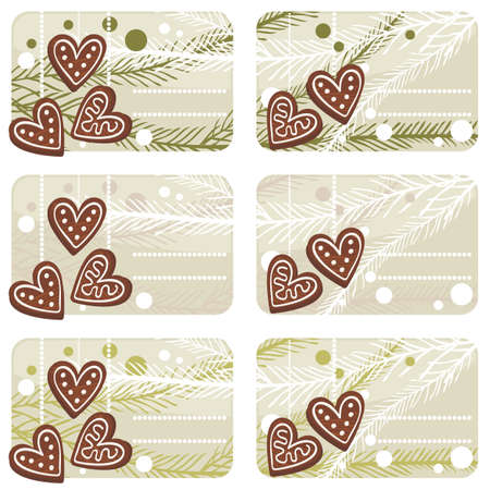 christmas cake: christmas gingerbread hearts on a branch gift label set