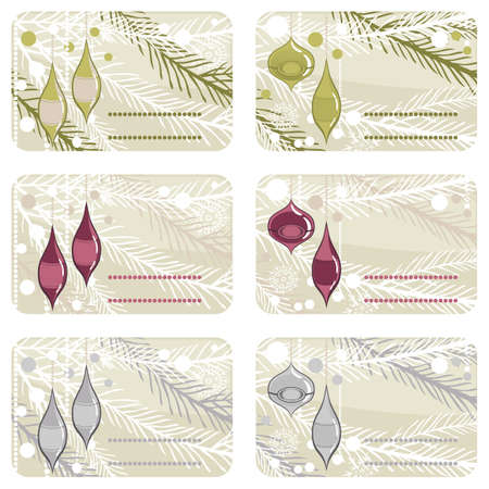 christmas glass balls on a branch gift label set  Vector