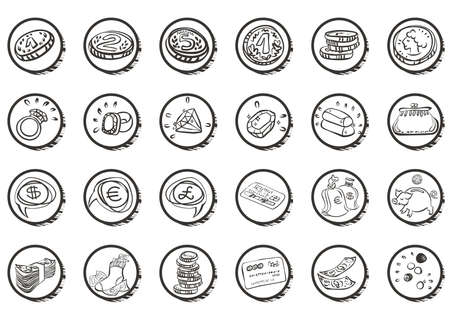 finance money jewelry white icon set  Stock Vector - 16326070