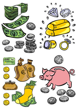 business finance elements colorful illustration set  Vector