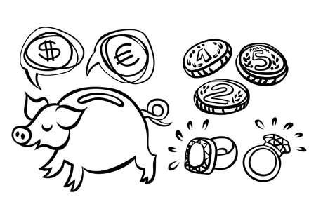 coins precious stones money saving pig monochrome financial illustration on white background Stock Vector - 16331498