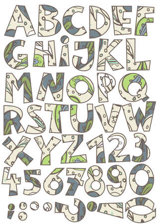 c r t: green brown blue paisley on beige abc colorful retro alphabet