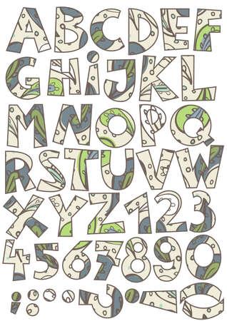 r p m: green brown blue paisley on beige abc colorful retro alphabet