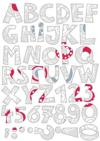 snowfalkes on gray abc colorful retro alphabet  Vector