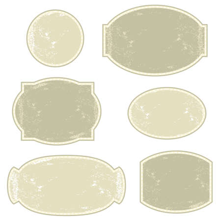 vintage light monochrome six round and oval label set  Illustration