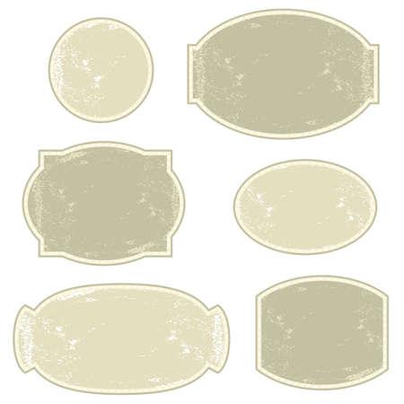 vintage light monochrome six round and oval label set  Illustration